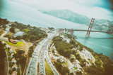 Aerial view of San Francisco Golden Gate Bridge and US Highway 101 from Helicopter - 169174200
