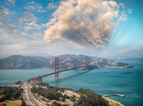 Aerial view of San Francisco Golden Gate Bridge from Helicopter - 169176697