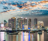 San Diego, California. Night view of Downtown buildgs with water reflections - 169177086