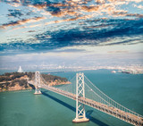 Aerial view of Bay Bridge in  San Francisco from helicopter, CA - 169177248