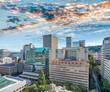 Aerial city skyline of Portland on a beautiful sunny day, OR - 169177404
