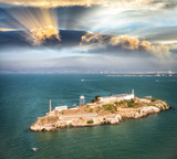 Aerial helicopter view of Alcatraz Island, San Francisco - 169177641