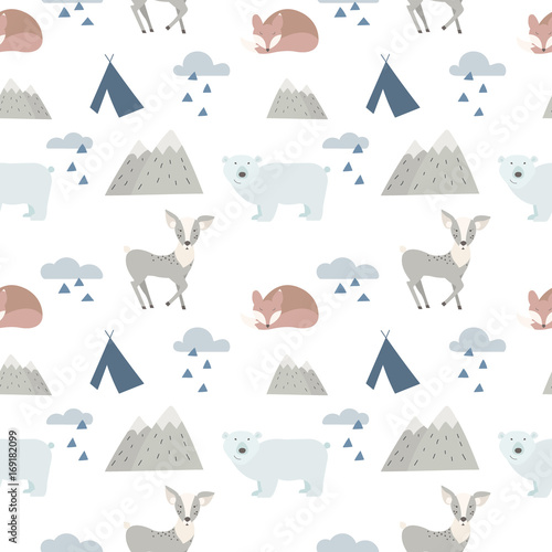 Seamless forest animals background with cute deer, bear and fox. Cartoon style. - 169182099