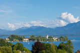 Fototapety Island Fraueninsel on lake Chiemsee in Bavaria on a sunny summer day