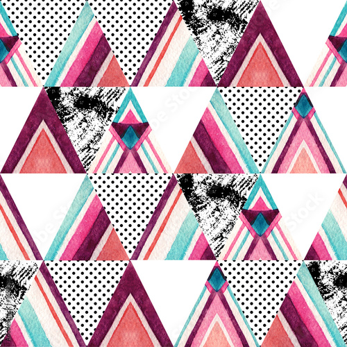 Watercolor ornate triangles seamless pattern. - 169185441