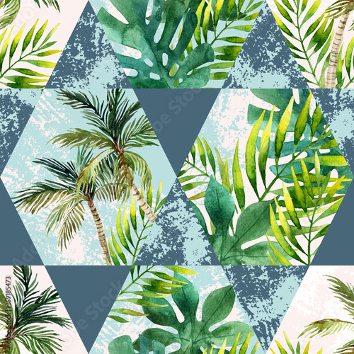 Watercolor tropical leaves and palm trees in geometric shapes seamless pattern - 169185473
