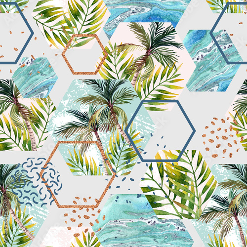 Materiał do szycia Watercolor tropical leaves and palm trees in geometric shapes seamless pattern