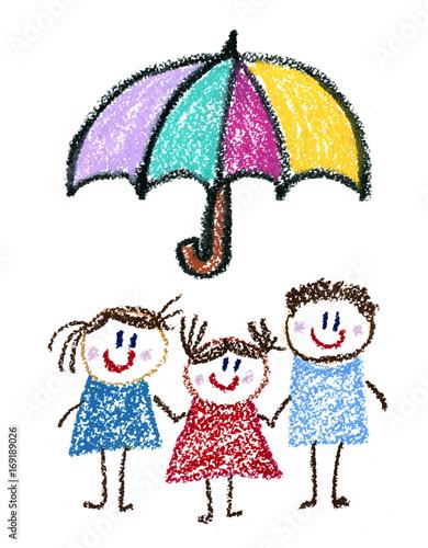 Rodzina ubezpieczeń społecznych Ubezpieczenia Dzieci rysunek Dzieci rysunek Ołówek, pastel, kreda, pastelowe ilustracji Opieki zdrowotnej