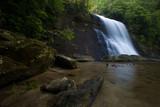 Silver Run Falls, a beautiful waterfall in North Carolina's Nantahala National Forest, at sunrise