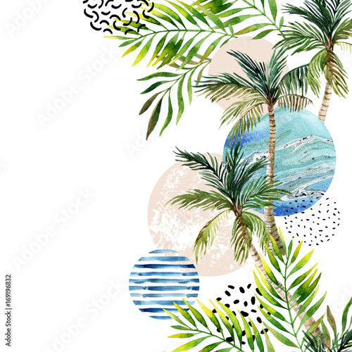 Abstract summer tropical palm tree background. - 169196832