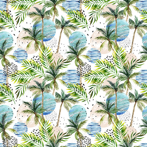 Abstract summer tropical palm tree background. - 169196854