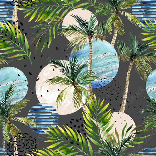 Abstract summer tropical palm tree background. - 169196865