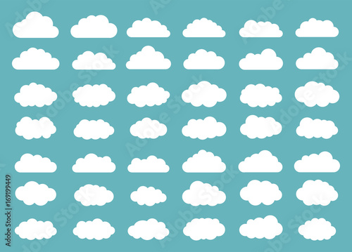 Set of clouds. Cloud icon. Vector illustration.