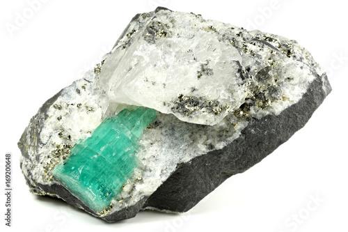 emerald nestled in bedrock found in Chivor/ Colombia
