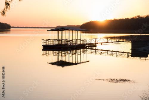 Fotobehang Pier Sunset over lake, Springfield, Missouri