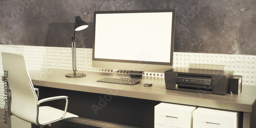 Creative designer desktop with table computer
