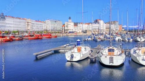 Colorful fishing boats in the port of Coruna, Galicia, Spain