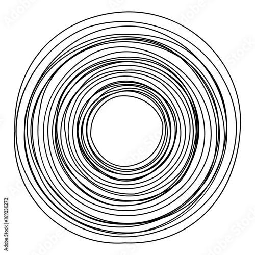 Circular geometric motif. Abstract grayscale op-art element - 169230272