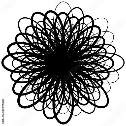 Circular geometric motif. Abstract grayscale op-art element - 169231215