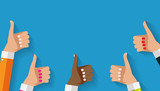 Flat Design Thumbs Up Background . Vector Illustration - 169231884