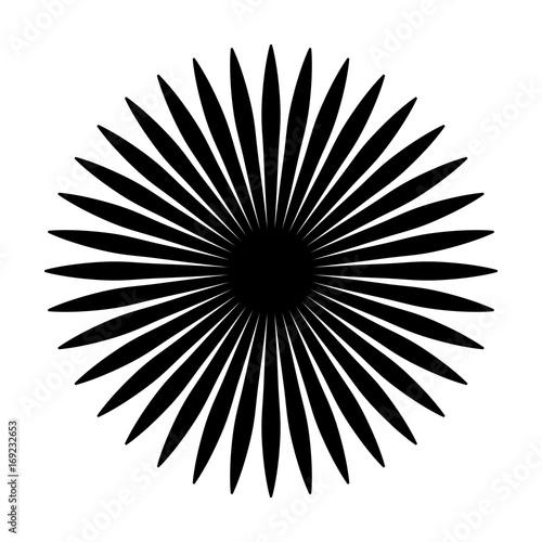 Circular geometric motif. Abstract grayscale op-art element - 169232653