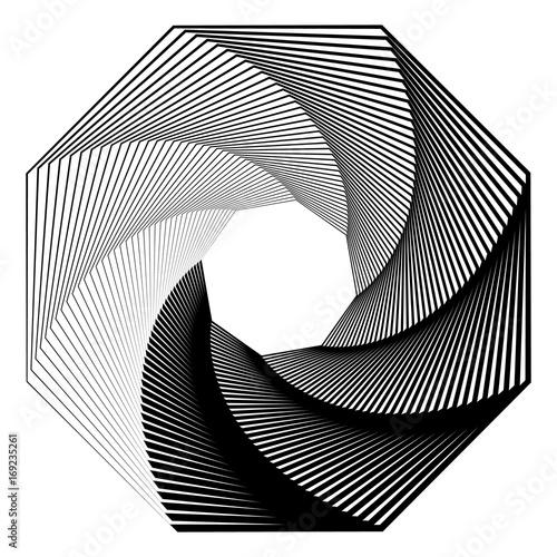 Circular geometric motif. Abstract grayscale op-art element - 169235261