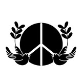 contour hippie emblem with doves and branches design - 169235400