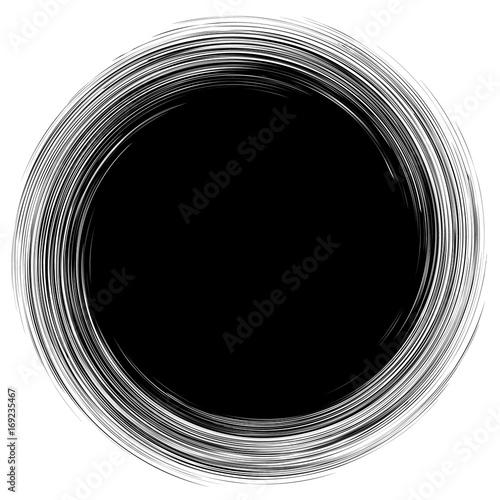 Circular geometric motif. Abstract grayscale op-art element - 169235467