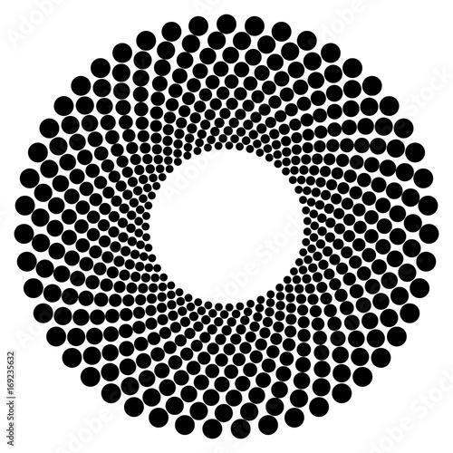 Circular geometric motif. Abstract grayscale op-art element - 169235632