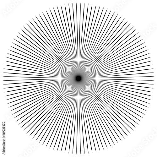 Circular geometric motif. Abstract grayscale op-art element - 169235670