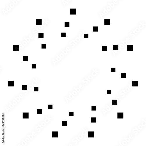 Circular geometric motif. Abstract grayscale op-art element - 169235674