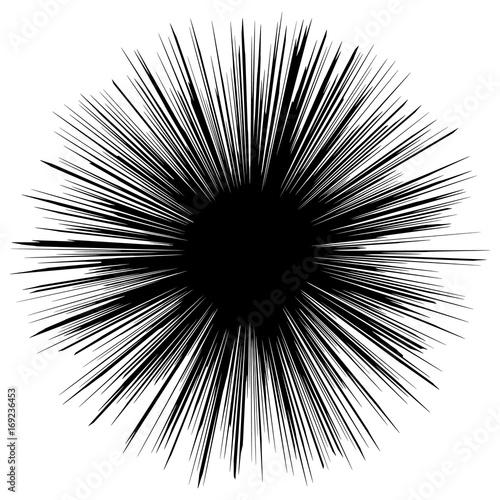Circular geometric motif. Abstract grayscale op-art element - 169236453