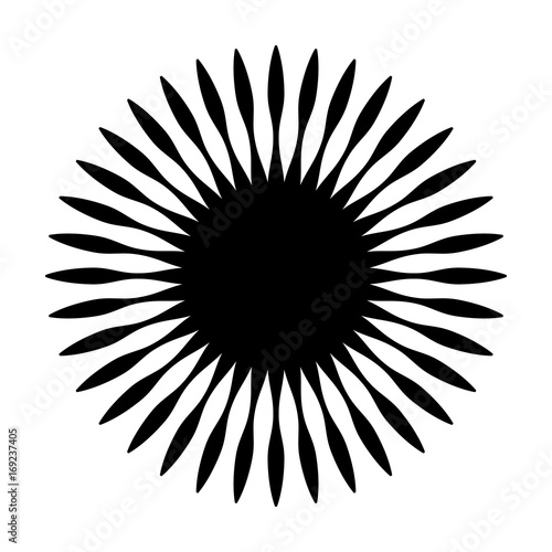 Circular geometric motif. Abstract grayscale op-art element - 169237405