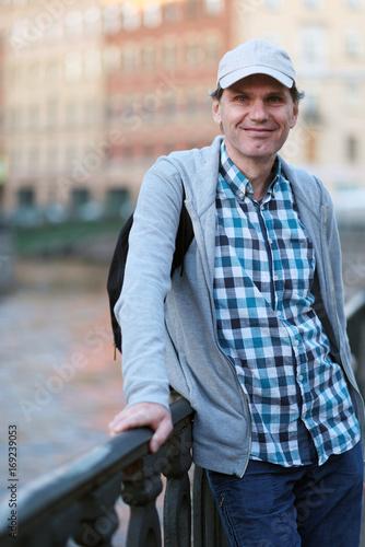 Mature tourist in St. Petersburg, Russia