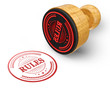 Rules red grunge round stamp isolated on white Background