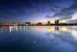 the sunset of Mingyue lake