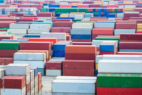 Aluminium container yard closeup