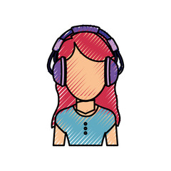 Woman with headphones icon vector illustration graphic design