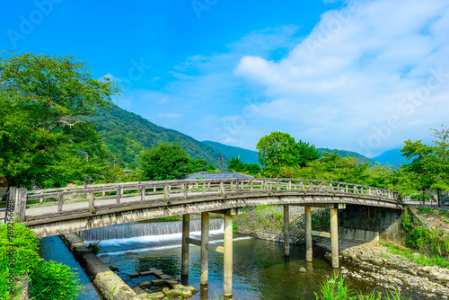 Fotobehang Bruggen 京都 嵐山 中之島地区