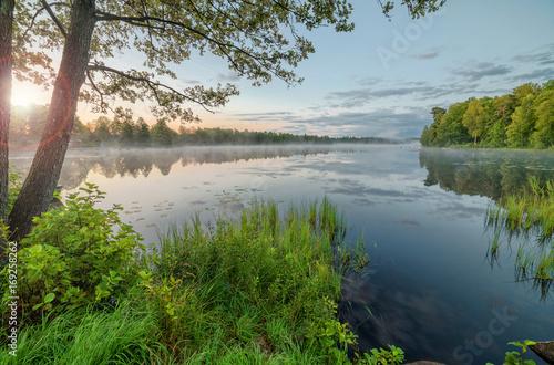 Aluminium Zomer Sunrise at Swedish lake
