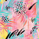Watercolour pink colored palm leaf and graphic elements painting. - 169260474