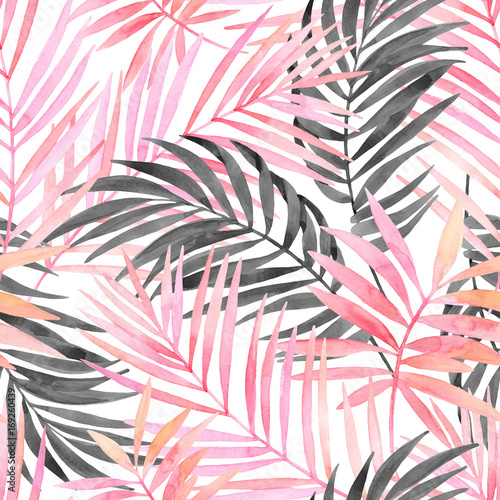 Watercolour pink colored and graphic palm leaf painting. - 169260439