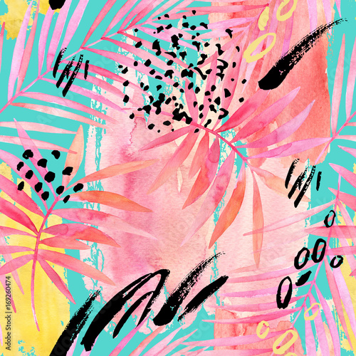Fototapeta Watercolour pink colored palm leaf and graphic elements painting.