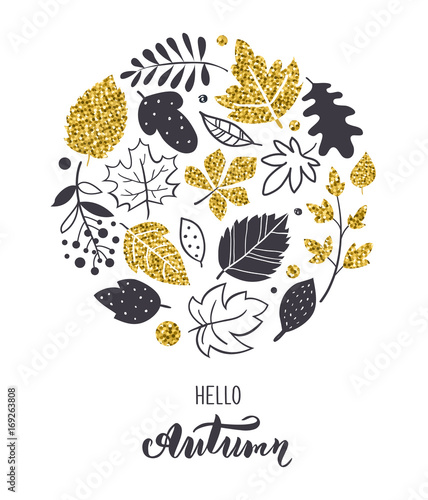 Autumn leaves background. Hand drawn Scandinavian style. Perfect for print, greeting card, cover, invitation. Gold and black color