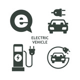 Set of vector icons.  Electric vehicle. Service of electric vehicles.
