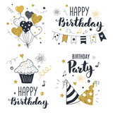 Set of birthday greeting cards design, black and gold colors, hand drawn style - 169264836