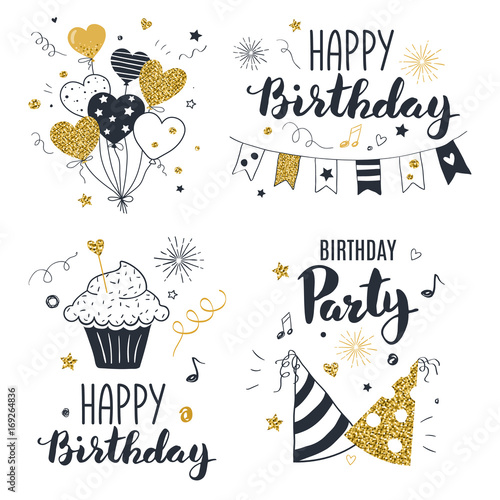 Set of birthday greeting cards design, black and gold colors, hand drawn style