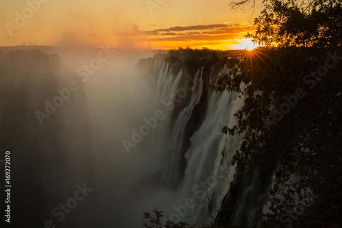 Fotobehang Zwart Zambezi Victoria Falls from Zambia