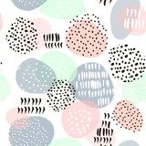 Seamless abstract pattern with hand drawn shapes and elements. Vector trendy texture - 169273230