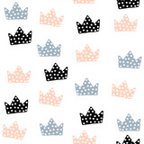 Seamless pattern with crowns. Childish texture for fabric, textile. Vector background - 169273293